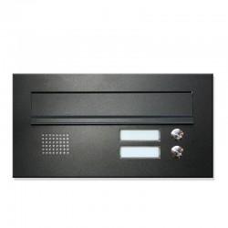 Niska skrzynka na listy z domofonem 2 przyciski czarna 9005 RAL