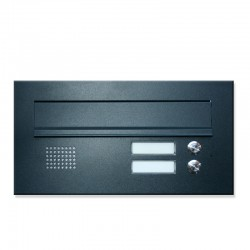 Niska skrzynka na listy z domofonem 2 przyciski antracyt 7016RAL
