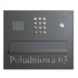 Skrzynka na listy lakier z szyfratorem z napisem i domofonem