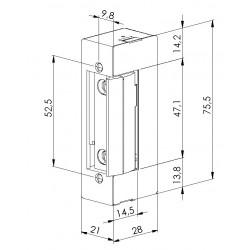 Elektrozaczep symetryczny z wyłącznikiem 12 AC