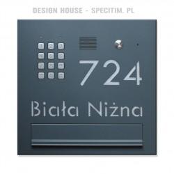Skrzynka na listy lakier z szyfratorem B880 z napisem i domofonem