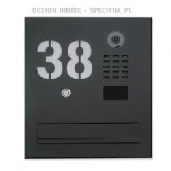 Czarna skrzynka na listy do kamery IP DOORBIRD D2100E z napisem